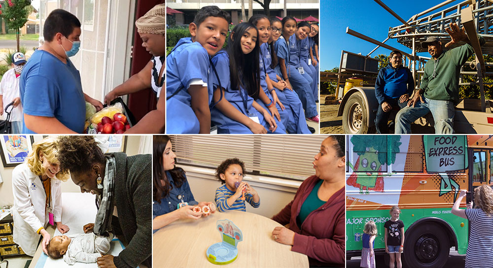 collage featuring children in scrubs sitting in a row, men in front of a tractor, a child delivering food to a woman, a mother and her baby at the doctor, a child at play, and two girls in front of a bus