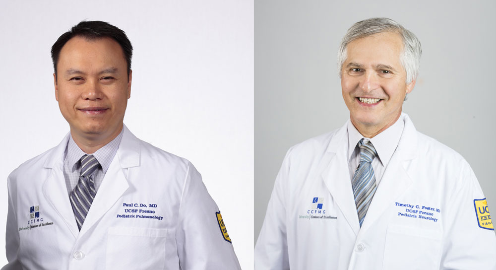 Side-by-side photos of two male doctor portraits