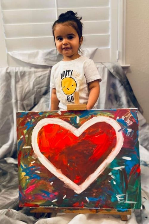 2-year old Emmy Lovik painting