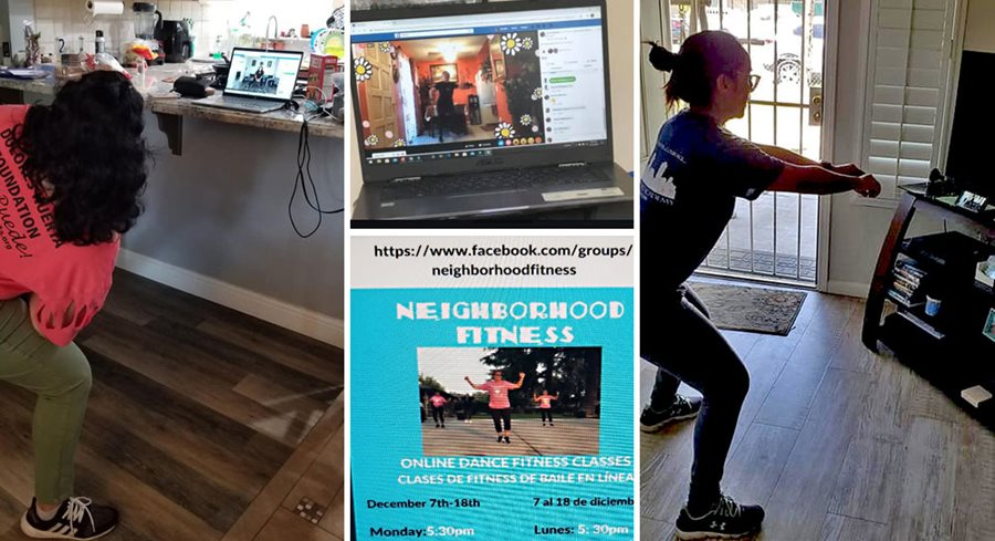 a collage showing three women in their separate homes participating in an online fitness class on their laptop computers